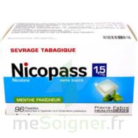 NICOPASS 1,5 mg SANS SUCRE MENTHE FRAICHEUR, pastille édulcorée à l'aspartam et à l'acésulfame potassique à BISCARROSSE